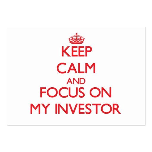 Guarde la calma y el foco en mi inversor tarjetas personales