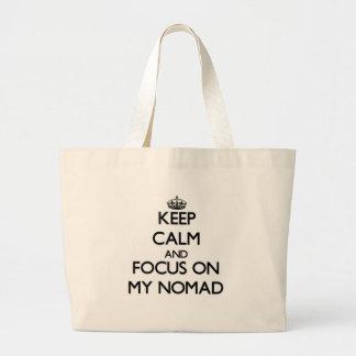 Guarde la calma y el foco en mi nómada bolsas lienzo