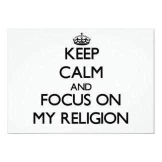 Guarde la calma y el foco en mi religión anuncios
