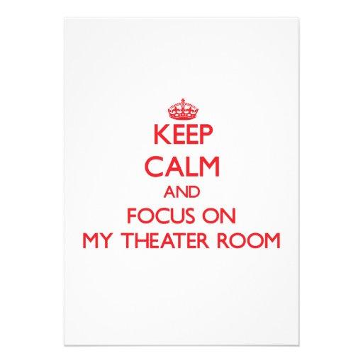 Guarde la calma y el foco en mi sitio del teatro invitación personalizada