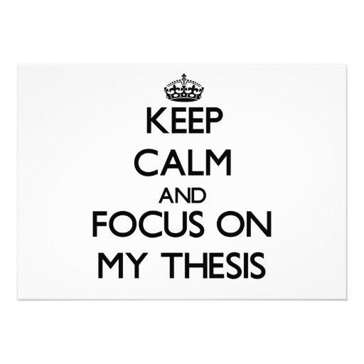 Guarde la calma y el foco en mi tesis comunicados personalizados