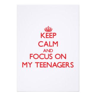 Guarde la calma y el foco en mis adolescentes invitaciones personales