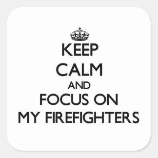 Guarde la calma y el foco en mis bomberos colcomanias cuadradases