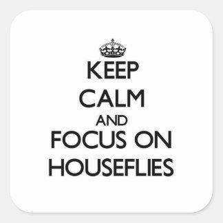 Guarde la calma y el foco en moscas domésticas calcomanías cuadradas personalizadas