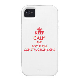 Guarde la calma y el foco en muestras de la constr iPhone 4/4S funda