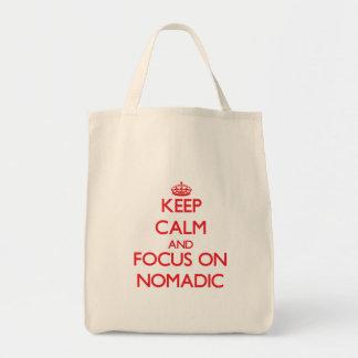 Guarde la calma y el foco en nómada bolsa lienzo