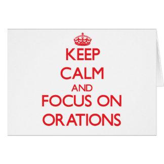 Guarde la calma y el foco en oraciones