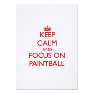 Guarde la calma y el foco en Paintball Invitaciones Personales
