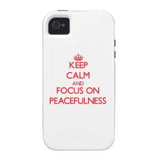 Guarde la calma y el foco en paz Case-Mate iPhone 4 carcasa