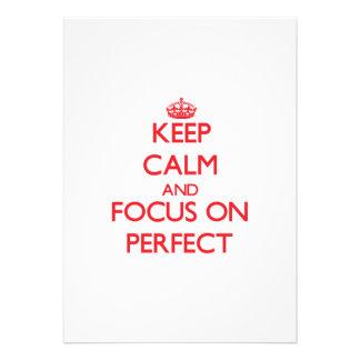 Guarde la calma y el foco en perfecto