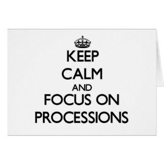 Guarde la calma y el foco en procesiones tarjeta pequeña