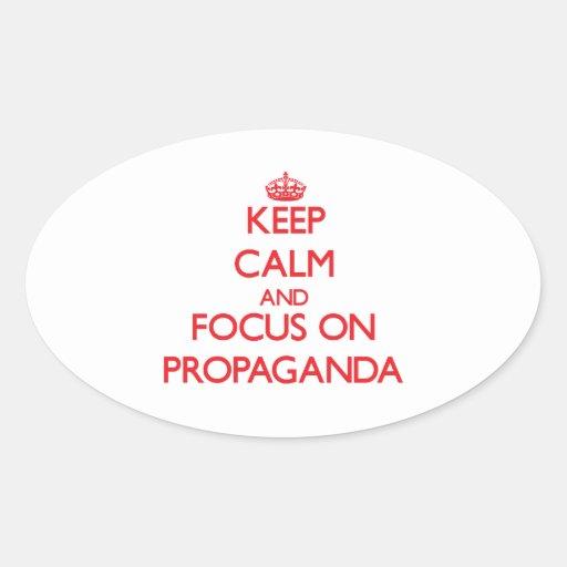 Guarde la calma y el foco en propaganda pegatinas de óval personalizadas