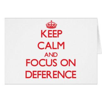 Guarde la calma y el foco en respeto tarjetón