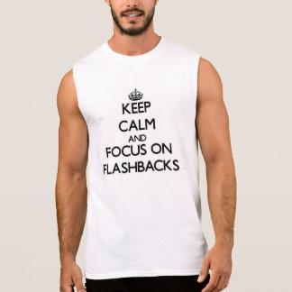 Guarde la calma y el foco en retrocesos camisetas sin mangas