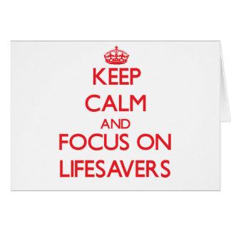 Guarde la calma y el foco en salvaciones tarjeta de felicitación