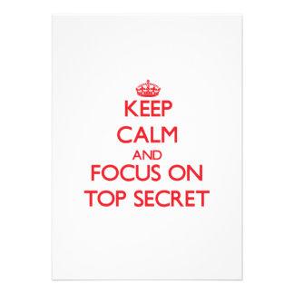 Guarde la calma y el foco en secretísimo comunicados personalizados