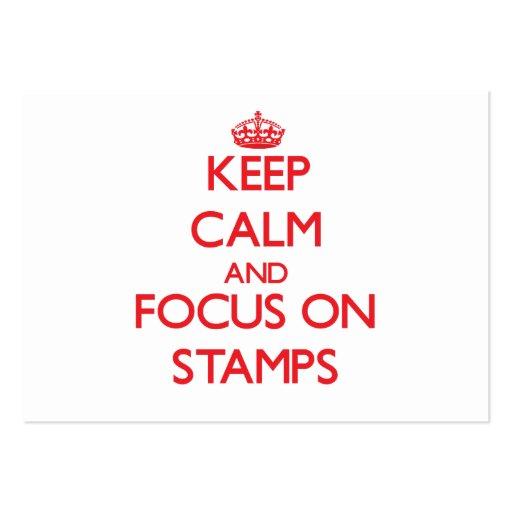 Guarde la calma y el foco en sellos tarjeta de visita