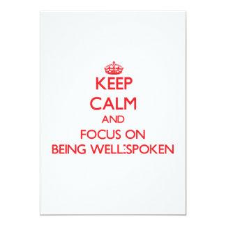 Guarde la calma y el foco en ser bienhablado invitaciones personales