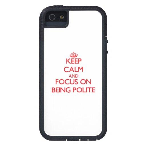 Guarde la calma y el foco en ser educado iPhone 5 Case-Mate protector