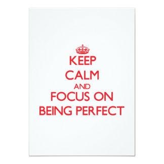 Guarde la calma y el foco en ser perfecto comunicado personalizado