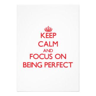 Guarde la calma y el foco en ser perfecto