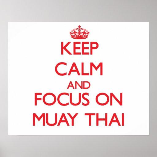 Guarde la calma y el foco en tailandés de Muay Impresiones
