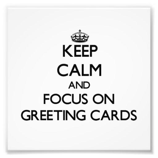Guarde la calma y el foco en tarjetas de felicitac fotos