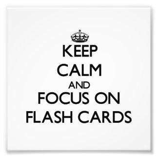Guarde la calma y el foco en tarjetas flash