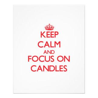 Guarde la calma y el foco en velas tarjetas informativas