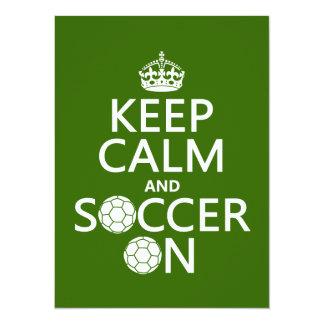 Guarde la calma y el fútbol encendido invitación 13,9 x 19,0 cm