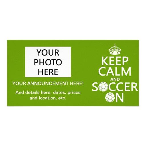 Guarde la calma y el fútbol encendido tarjeta con foto personalizada
