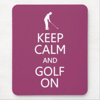 Guarde la calma y el golf en mousepad de encargo d