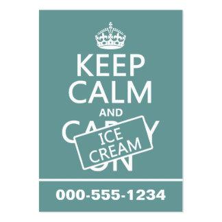 Guarde la calma y el helado helado cualquier co plantilla de tarjeta personal