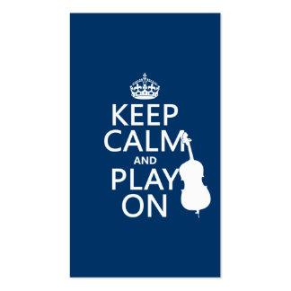 Guarde la calma y el juego en el bajo doble tarjeta de visita