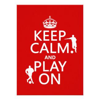 Guarde la calma y el juego en el fútbol en cual anuncio personalizado
