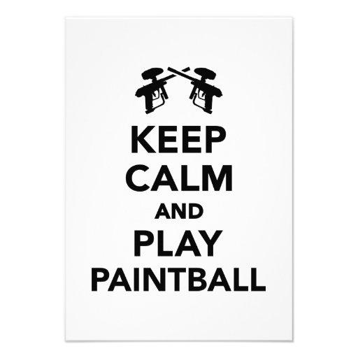 Guarde la calma y el juego Paintball Invitación Personalizada