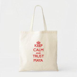 Guarde la calma y el maya de la CONFIANZA Bolsas