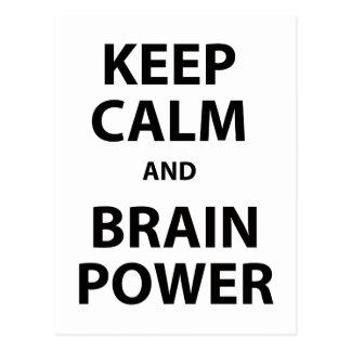 Guarde la calma y el poder mental postal