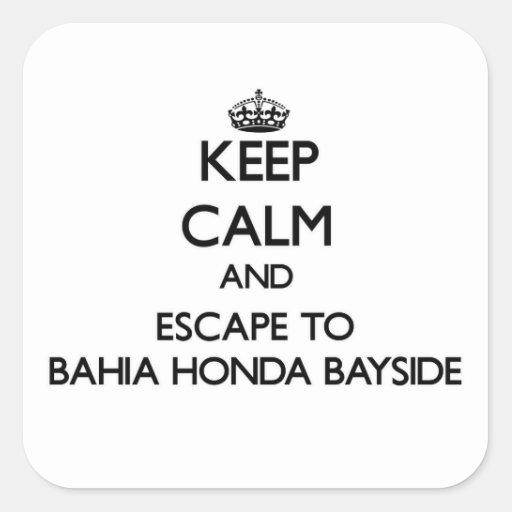 Guarde la calma y escápese a Bahía Honda Bayside Calcomanías Cuadradass Personalizadas