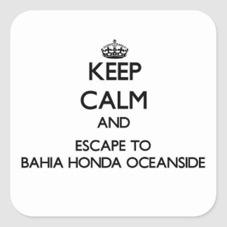 Guarde la calma y escápese a la costa Flor de Pegatinas Cuadradases Personalizadas