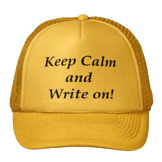Guarde la calma y escriba encendido gorros