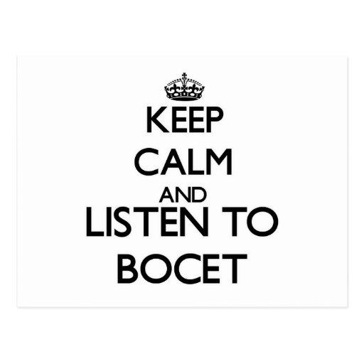 Guarde la calma y escuche BOCET Postales