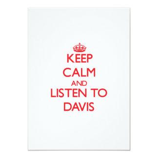 Guarde la calma y escuche Davis Invitación 12,7 X 17,8 Cm