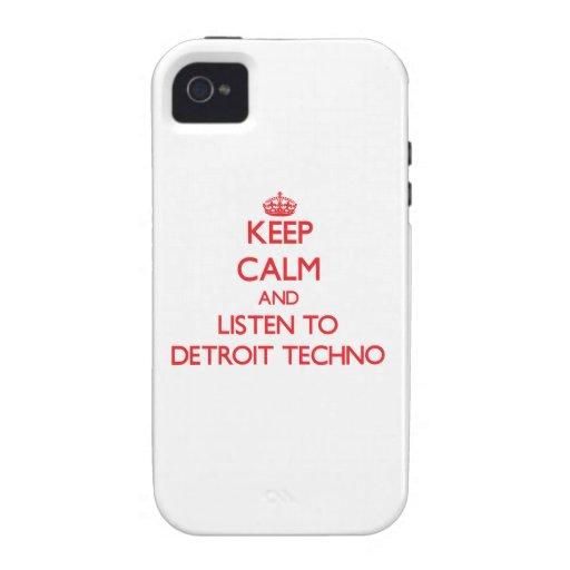 Guarde la calma y escuche DETROIT TECHNO Case-Mate iPhone 4 Fundas