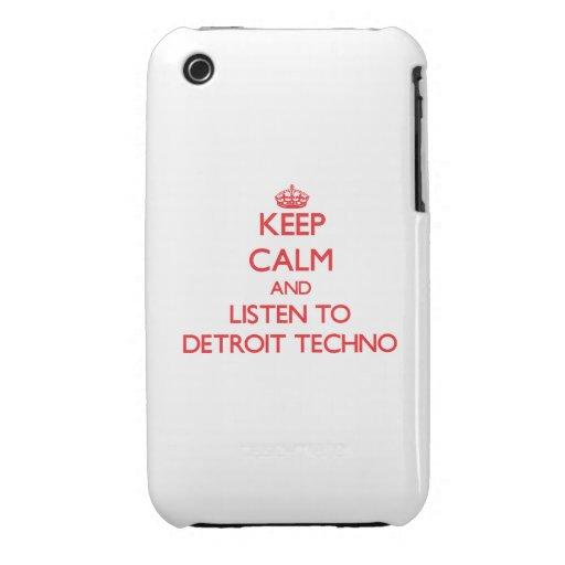 Guarde la calma y escuche DETROIT TECHNO iPhone 3 Carcasas