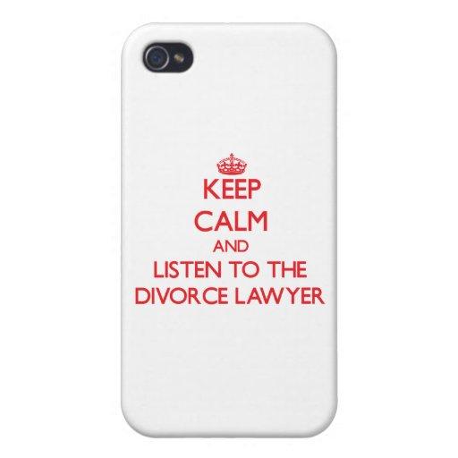 Guarde la calma y escuche el abogado de divorcio iPhone 4 coberturas
