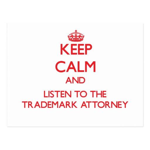 Guarde la calma y escuche el abogado de la marca r tarjetas postales