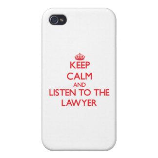 Guarde la calma y escuche el abogado iPhone 4 protector