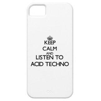 Guarde la calma y escuche el ÁCIDO TECHNO iPhone 5 Cárcasas