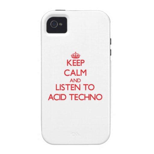 Guarde la calma y escuche el ÁCIDO TECHNO iPhone 4 Carcasa